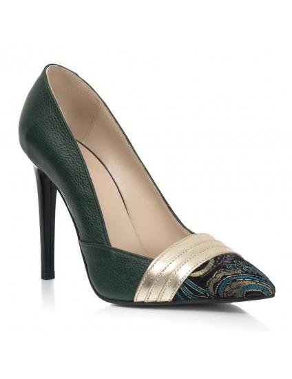 Pantofi Stiletto Piele Verde Amelia S8  - orice culoare