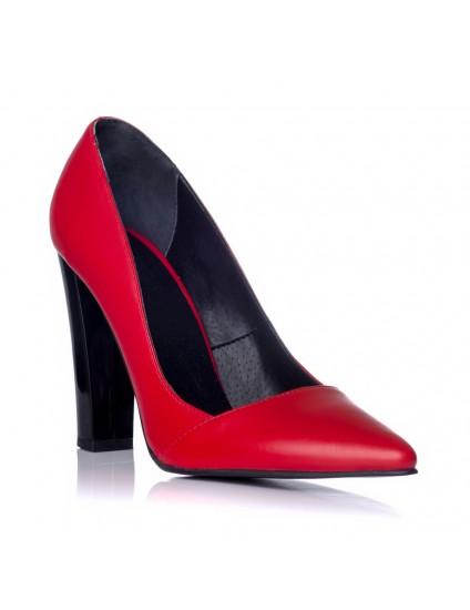 Pantofi Stiletto Toc Gros Rosu C28- pe stoc