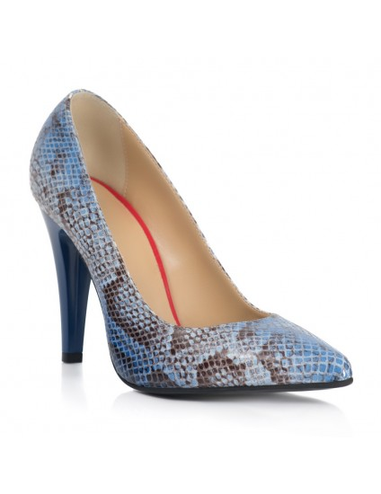 Pantofi Stiletto Imprimeu Sarpe Albastru T35  - orice culoare