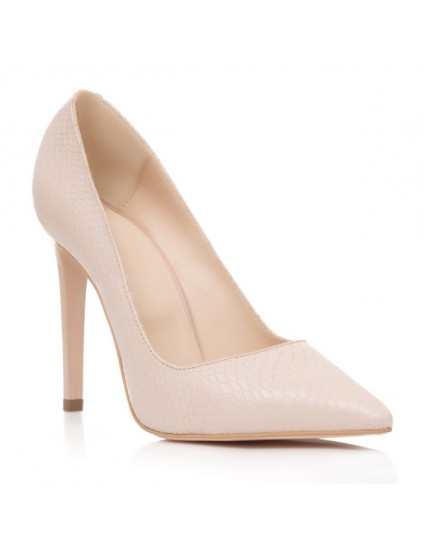 Pantofi Stiletto Piele Sarpe Nude S11 - orice culoare