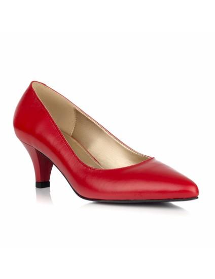 Pantofi Stiletto Piele Rosu Toc Mic L21 - orice culoare