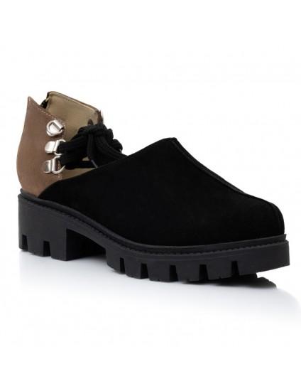 Pantofi Piele Negru/Capucino Arya V17  - orice culoare