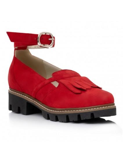 Pantofi Talpa Bocanc Piele Rosu Bareta V19 - orice culoare