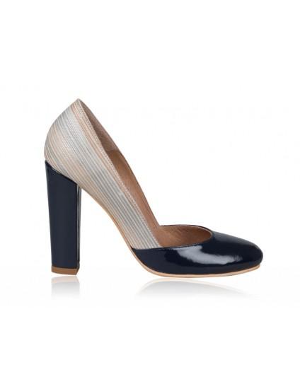 Pantofi dama piele Retro N1 Bleumarin  - orice culoare