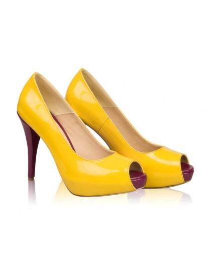 Pantofi dama piele Model N 11  Galbeni - disponibili pe orice culoare