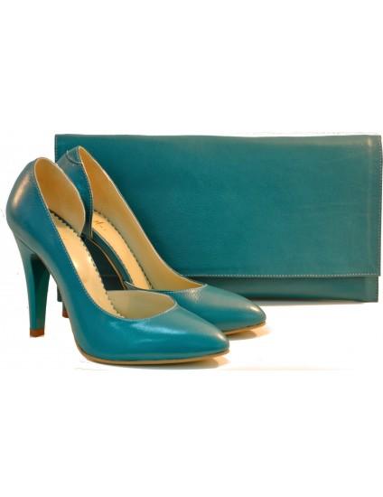 Pantofi dama piele naturala Elegant Turcoaz- disponibili pe orice culoare
