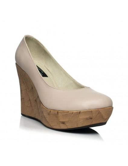 Pantofi piele nude cu platforma ortopedica - pe stoc
