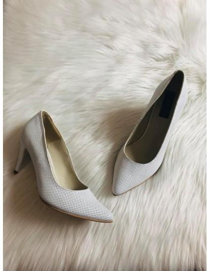 Pantofi Stiletto Piele  alb perforat Toc Mic V30 -pe stoc
