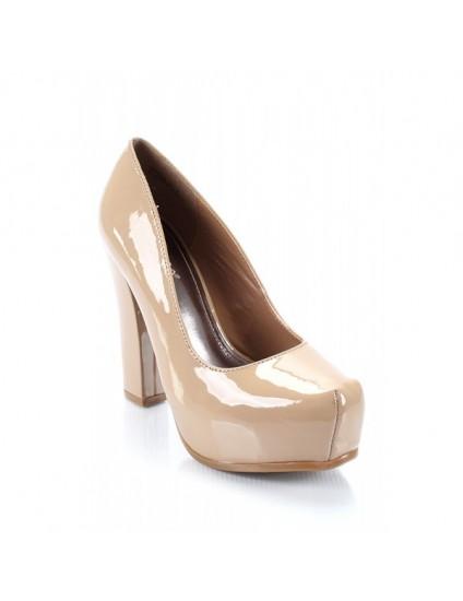 Pantofi piele lacuita Pety, nude - pe stoc