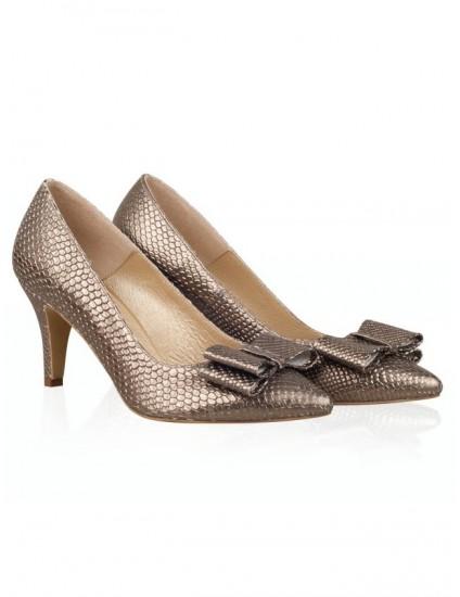 Pantofi Stiletto Piele Bronz Funda N33 - pe stoc
