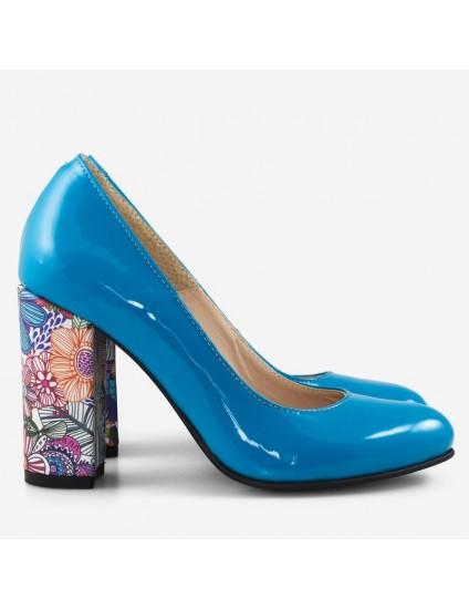 Pantofi Dama Piele Turqoise/Floral Fabiola D12 - orice culoare