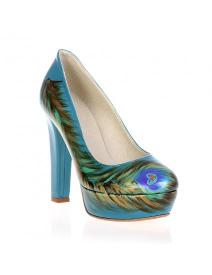 Pantofi Lindi turcoaz piele naturala pictati manual 1.4 - orice culoare