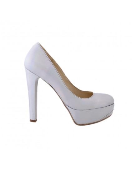 Pantofi Clara V  Argintiu  piele naturala- disponibili pe orice culoare