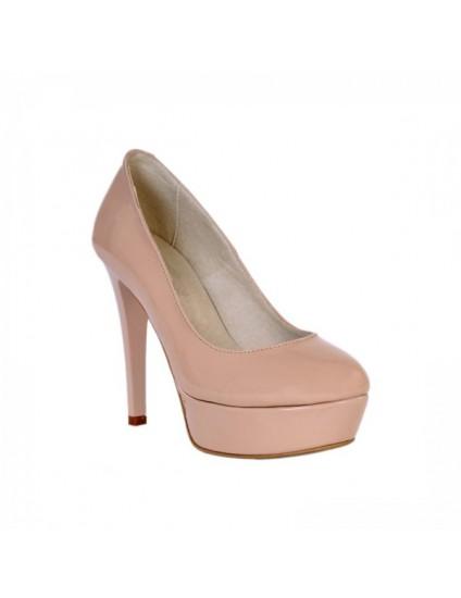Pantofi Lindi piele lacuita,orice culoare-nude