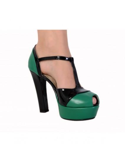 Sandale piele naturala Duet BOX VERDE -  pe stoc
