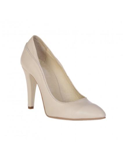 Pantofi Piele naturala Crem  Simplu - disponibili pe orice culoare