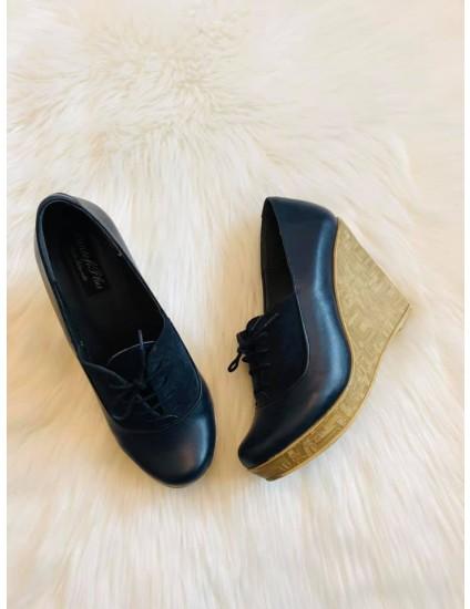 Pantofi piele  bleumarin cu platforma Roro V3 - pe stoc
