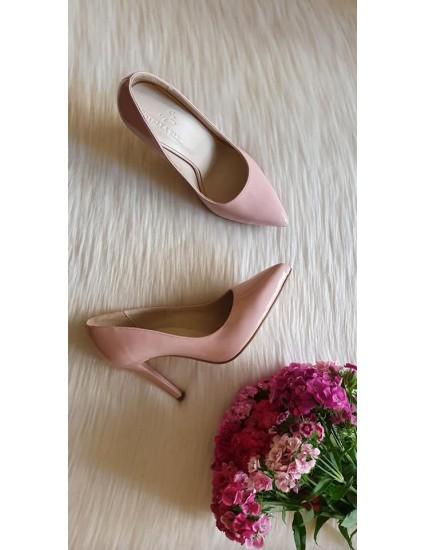 Pantofi Stiletto Piele  Lac Roz Pudra  Very Chic  - pe stoc
