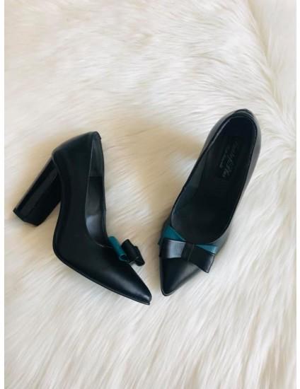 Pantofi Stiletto Toc Gros negru si verde  S1 - pe stoc