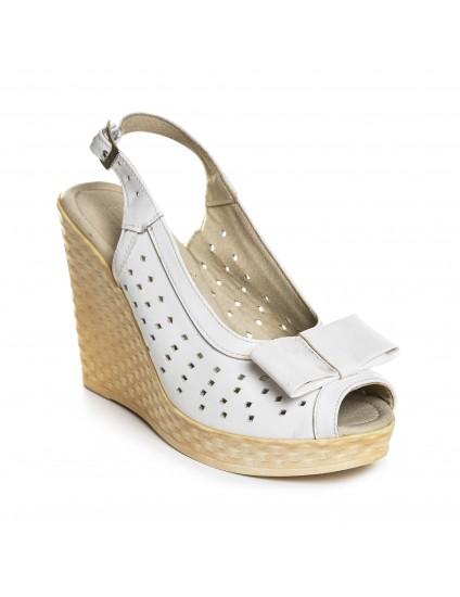 Sandale cu platforma piele alb funda V11 - orice culoare