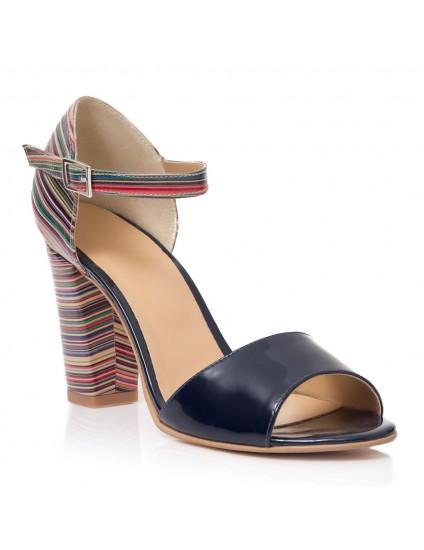 Sandale Piele Bleumarin cu Dungi T9 - orice culoare