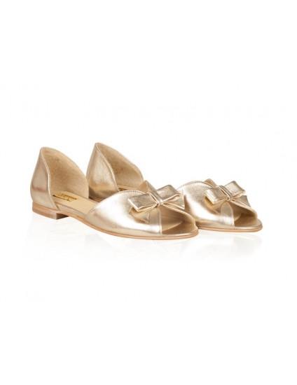 Sandale Dama Piele Naturala Auriu Talpa Joasa
