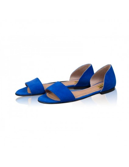 Sandale dama talpa joasa Chic - Piele naturala Albastru Electric - pe stoc