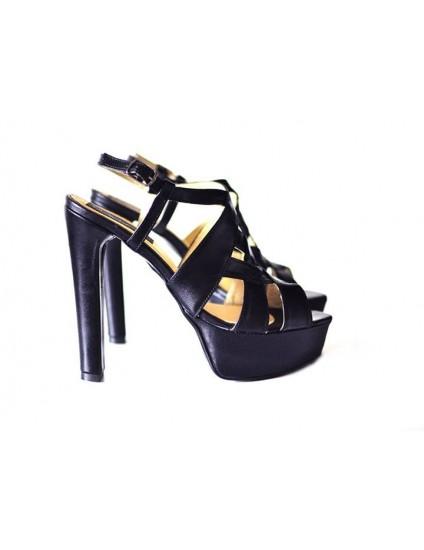 Sandale Plasa Negru piele naturala - disponibile pe orice culoare