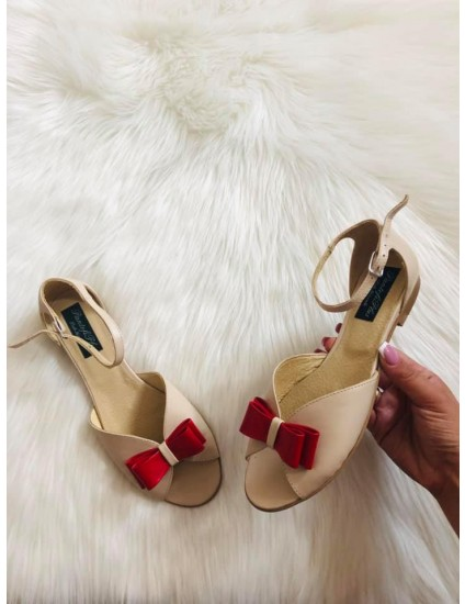 Sandale Piele Talpa Joasa Nude /rosu Joy N11 - pe stoc