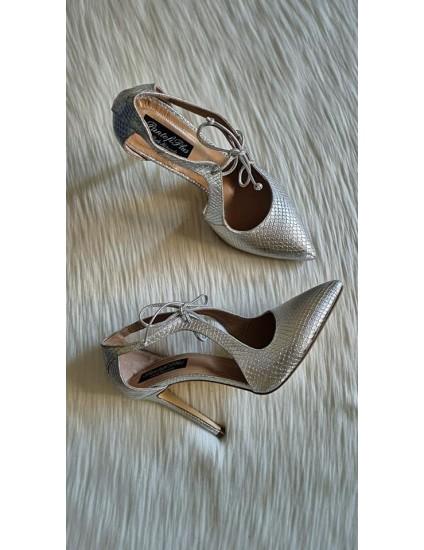 Pantofi Stiletto Argintiu Retro L15 - pe stoc