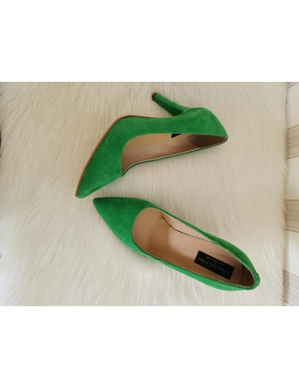 Pantofi Stiletto  Piele Verde C8  - pe stoc
