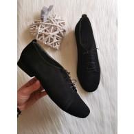 Pantofi Oxford 5 piele intoarsa negra, - pe stoc