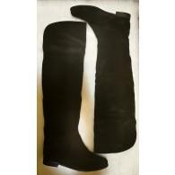 Cizme peste genunchi piele intoarsa negra  C1 - pe stoc