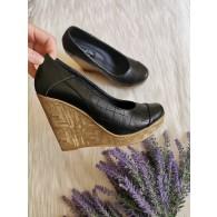 Pantofi piele cu platforma Eva box negru  V1 -pe stoc