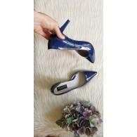 Pantofi Piele Stiletto Fancy lac bleumarin N30 - pe stoc