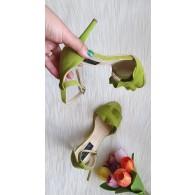 Sandale Piele verde  Anais Toc Cui C16  - pe stoc