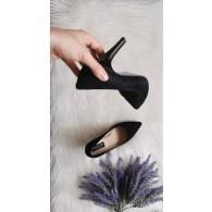 Pantofi Stiletto  Piele intoarsa negra C8  - pe stoc