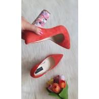 Pantofi Stiletto Toc Gros Piele Rosu Melisa T28 - Orice Culoare