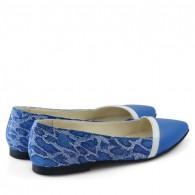 Balerini piele albastru leopard D10 - orice culoare