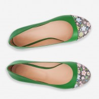 Balerini piele verde varf floral D8 - orice culoare