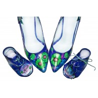 Pantofi piele naturala albastru set mama - fiica M4 - orice culoare