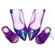 Pantofi piele naturala mov set mama - fiica M2 - orice culoare
