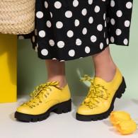 Pantofi Piele Galben Sara V11  - orice culoare
