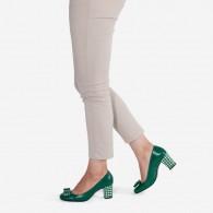Pantofi Piele Verde Office Fundita D20 - pe stoc