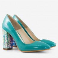 Pantofi Turqoise/Multicolor varf ascutit cu toc gros D17 - orice culoare
