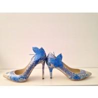 Pantofi Pictati Manual Butterfly Albastru/Nude - orice culoare