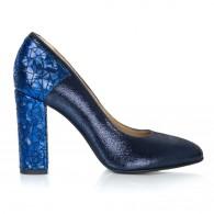 Pantofi Dama Piele Albastru Boem T14 - Orice Culoare