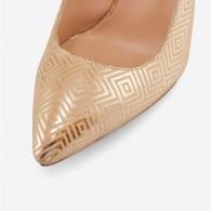 Pantofi Stiletto Piele Auriu Print D19 - orice culoare