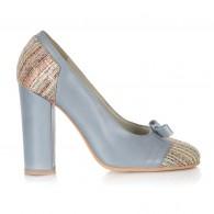 Pantofi Piele Bleu Aria Fundita V50 - Orice Culoare