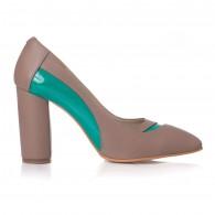 Pantofi Piele Capucino/Verde Samira V40 - orice culoare